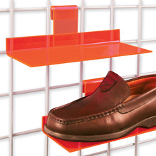Acrylic shoe shelf orange finish