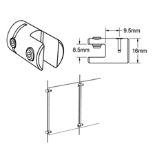 """5/16"""" Cable system vertical support"""