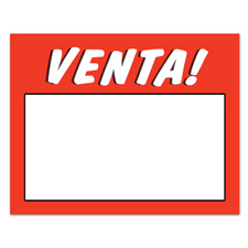 Venta sign card fluorescent orange/blue