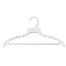 "16"" White suit plastic hanger"