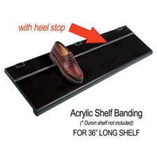 """36"""" Acrylic shelf banding with heel stop"""