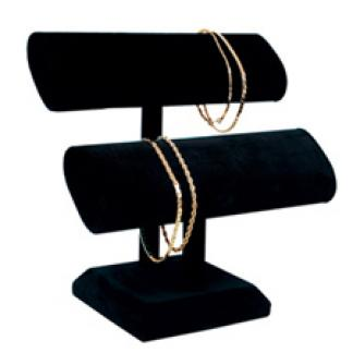 """Black velvet """"T"""" bar bracelet displayer"""