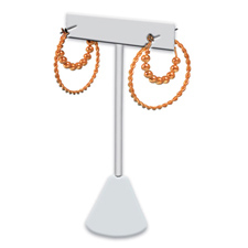 """White faux leather """"T"""" shape earring stand"""