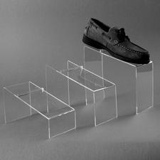 Clear slanted shoe risers