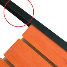 "Black plastic edge caps for slatwall (8 L X 3/4"")"