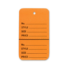 Orange perforated small coupon tag