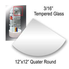 """Tempered glass quarter round (12"""" X 12"""" X 3/16"""")"""