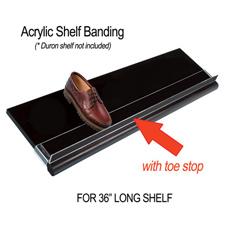 """36"""" Acrylic shelf banding with toe stop"""