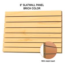 "6"" Birch melamine slatwall panel with metal insert"