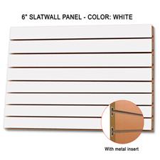 """6"""" white melamine slatwall panel with metal insert"""
